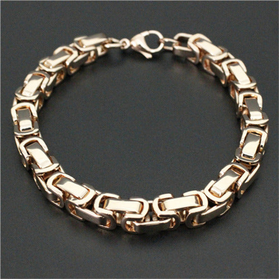 Rose Gold Byzantine Links Biker Bracelet Blown Biker
