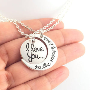 "2 Piece ""I Love You To The Moon and Back"" Couple Necklace Set - Blown Biker - 1"