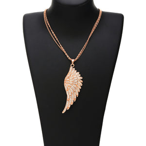 "Rose Gold Angel Wings ""Feather"" Pendant Necklace - Blown Biker - 5"