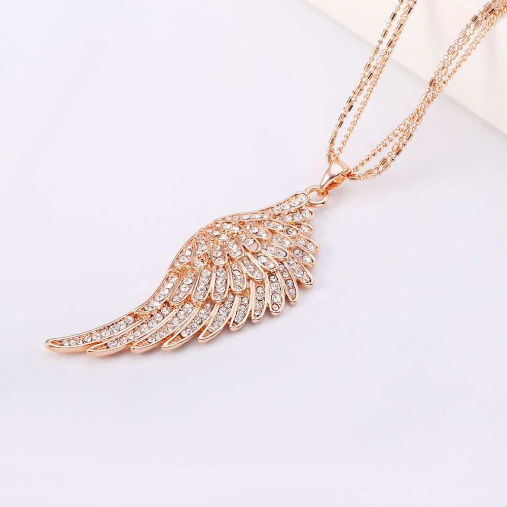18k rose gold plated angel wings feather pendant necklace blown rose gold angel wings feather pendant necklace blown biker 4 aloadofball Choice Image