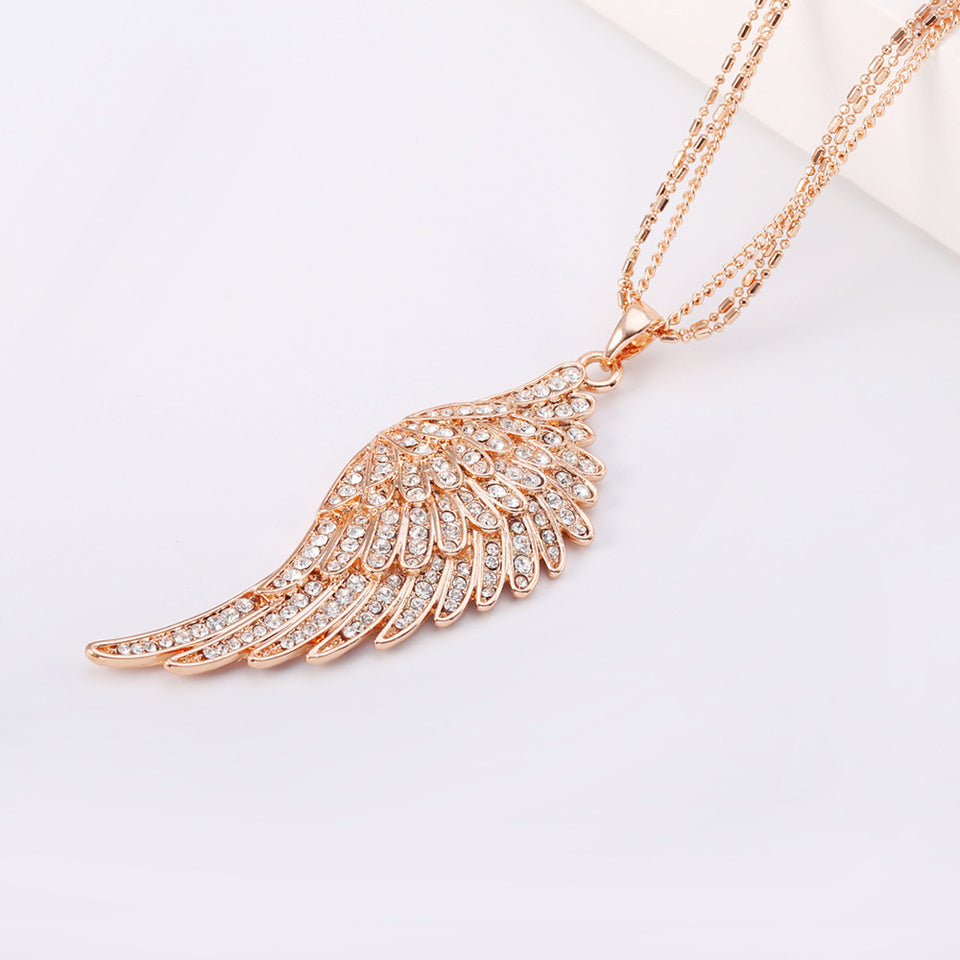 "Rose Gold Angel Wings ""Feather"" Pendant Necklace - Blown Biker - 4"