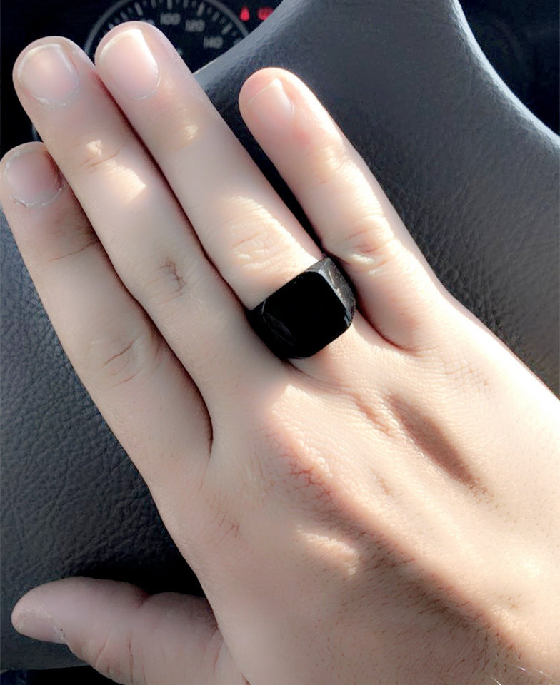 "316L Stainless Steel ""Polished Black"" Ring"
