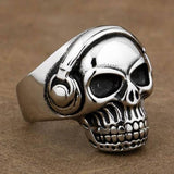 "316L Stainless Steel ""DJ Skull"" Ring"
