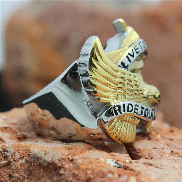 "316L Stainless Steel ""Live To Ride"" Ring - Blown Biker - 3"