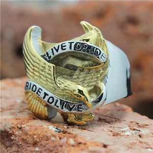 "316L Stainless Steel ""Live To Ride"" Ring - Blown Biker - 5"