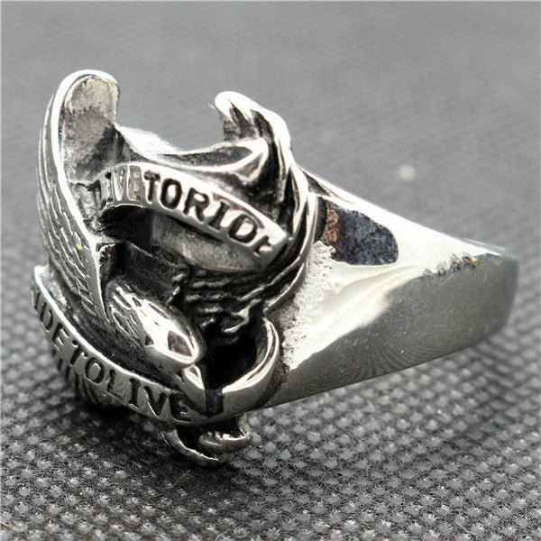 "316L Stainless Steel ""Live To Ride"" Ring - Blown Biker - 4"