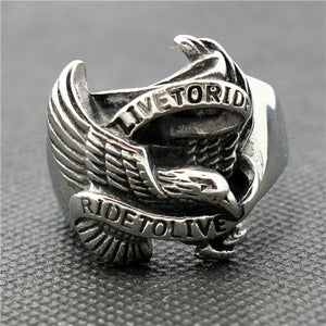"316L Stainless Steel ""Live To Ride"" Ring - Blown Biker - 2"