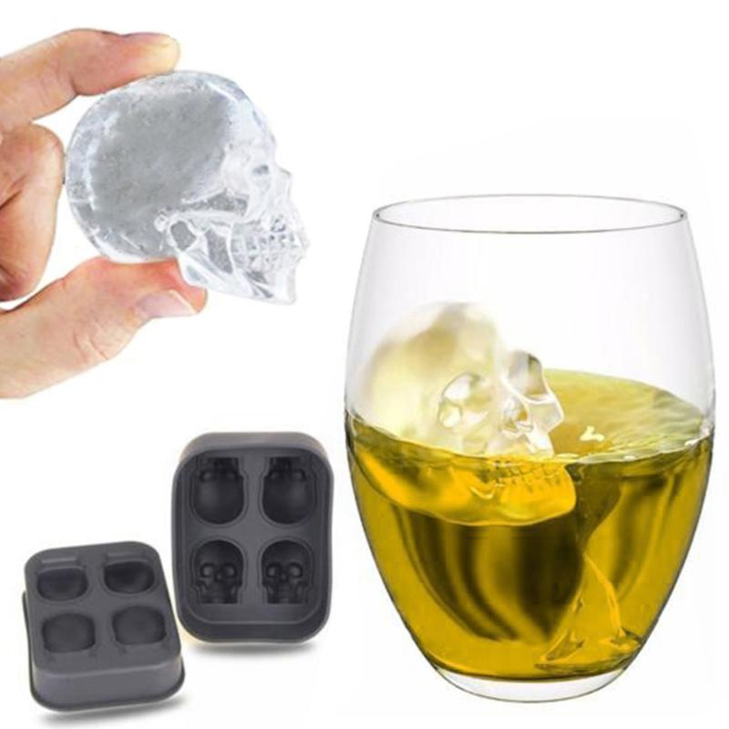 "Silicone ""Skull Heads"" Ice Cube Tray - Blown Biker - 3"