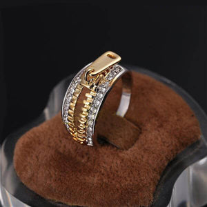 "18k Gold Plated Womens ""Zipper"" Ring"