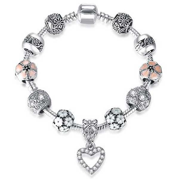 "925 Sterling Silver ""Charmed Heart"" Womens Bracelet - Blown Biker - 5"
