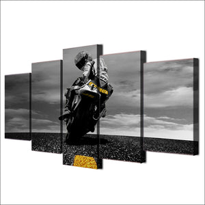 "5 Piece ""Biker"" Printed Wall Canvas Set - Blown Biker - 4"