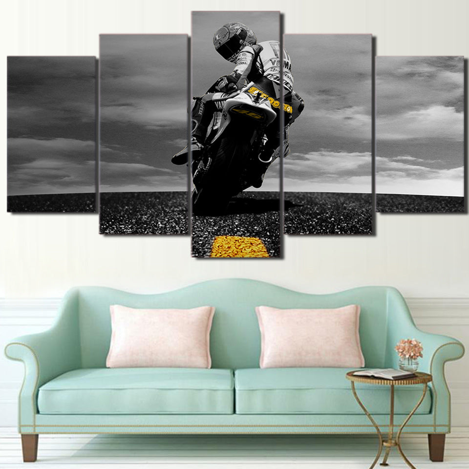 "5 Piece ""Biker"" Printed Wall Canvas Set - Blown Biker - 3"