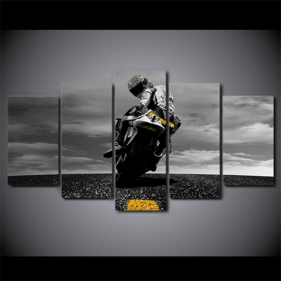 "5 Piece ""Biker"" Printed Wall Canvas Set - Blown Biker - 7"