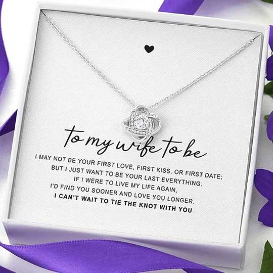 "14k White Gold ""Tie The Knot"" Luxury Necklace Gift Set - Blown Biker - 1"