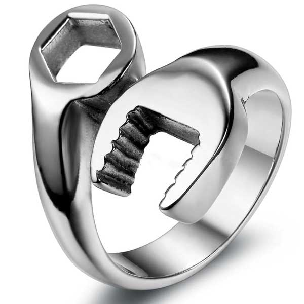 "316L Stainless Steel ""Wrench"" Ring - Blown Biker - 6"