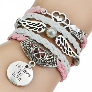 """Believe In Love"" Angel Wings Charm Bracelet - Blown Biker - 1"