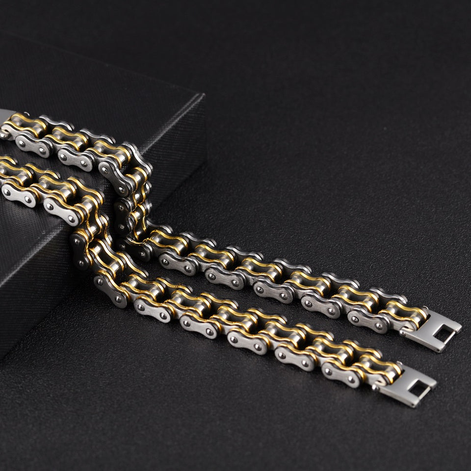 "316L Stainless Steel ""Black Gold"" Bracelet - Blown Biker - 4"