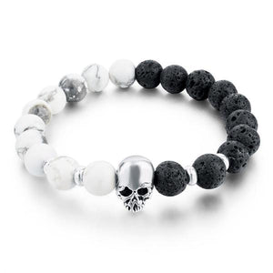 """Skull & Stone"" Adjustable Bangle - Blown Biker - 1"