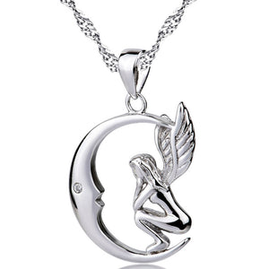 925 Sterling Silver Locket Women Moon and Angel Wings Pendant Necklace - Blown Biker - 1
