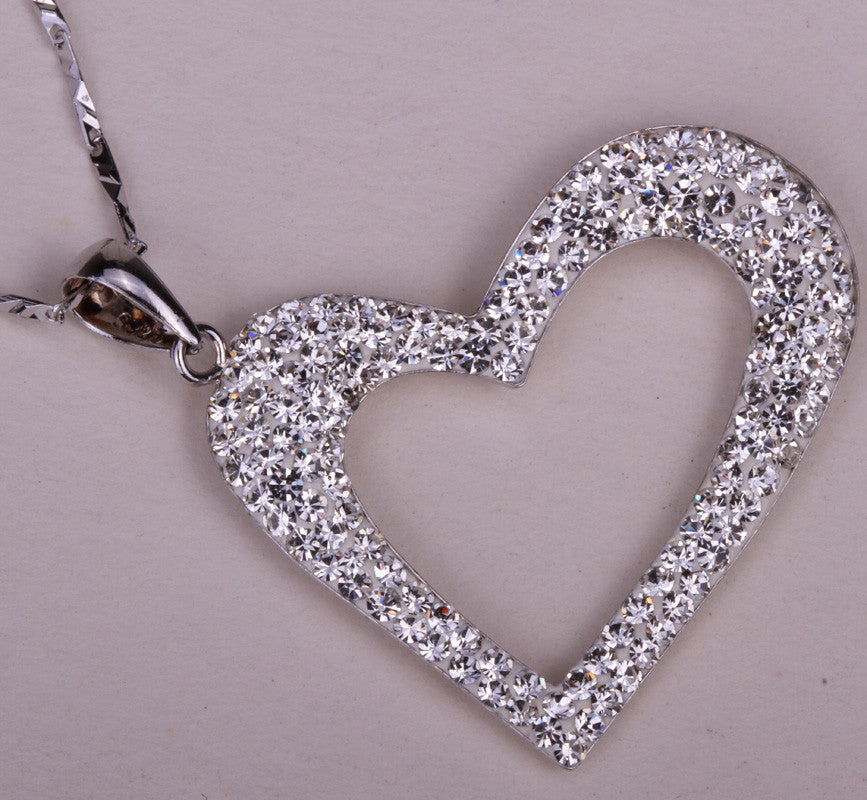 925 sterling silver austrian crystal heart pendant necklace 925 sterling silver austrian crystal heart pendant necklace aloadofball Images