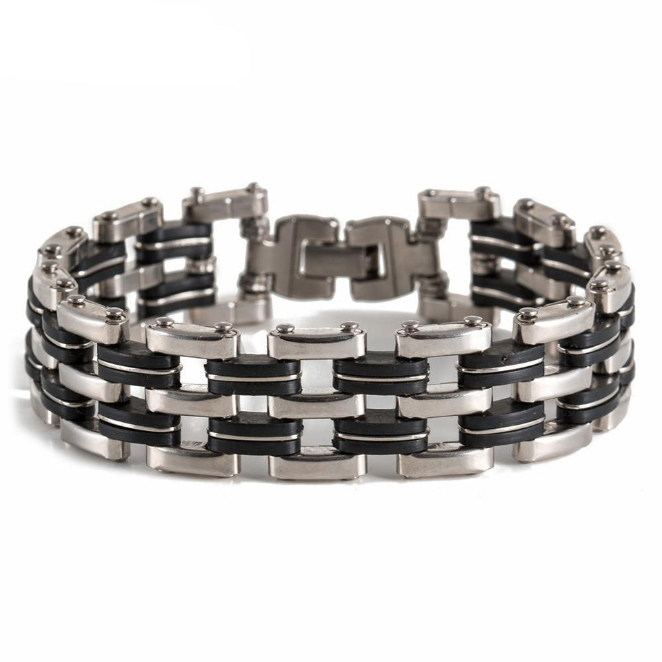 "316L Stainless Steel & Silicone ""Quad"" Biker Bracelet - Blown Biker - 1"