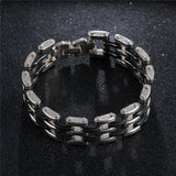 "316L Stainless Steel & Silicone ""Quad"" Biker Bracelet - Blown Biker - 3"