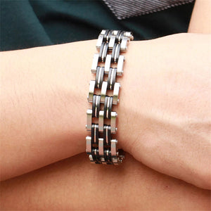 "316L Stainless Steel & Silicone ""Quad"" Biker Bracelet - Blown Biker - 4"