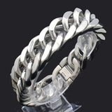 "316L Stainless Steel ""Cuban Chunk"" Biker Bracelet - Blown Biker - 3"