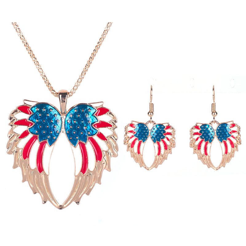 "Vintage ""USA Angel Wings"" Necklace/Earrings Jewelry Set"