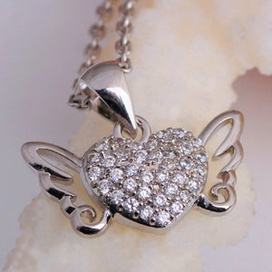 925 Sterling Silver Angel Wings Heart Necklace
