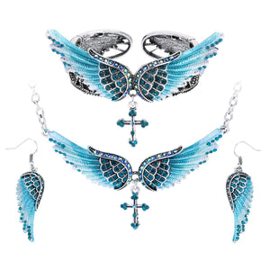 "Antique Silver Plated ""Angel Wings"" Jewelry Set - Blown Biker - 1"