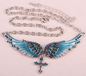 "Antique Silver Plated ""Angel Wings"" Jewelry Set - Blown Biker - 14"