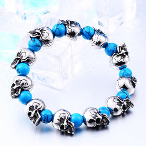 "316L Stainless Steel ""Blue Skulls"" Adjustable Bracelet - Blown Biker - 2"