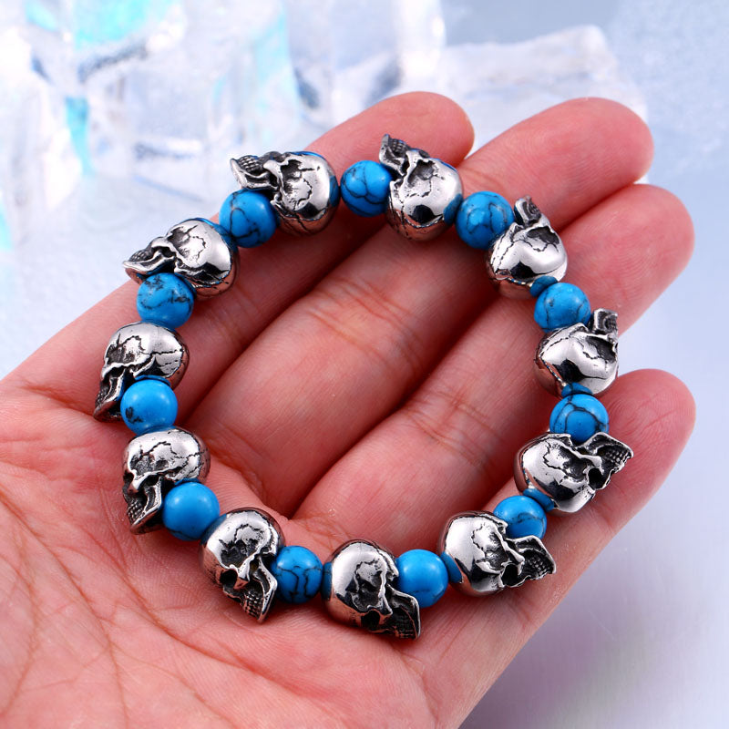 "316L Stainless Steel ""Blue Skulls"" Adjustable Bracelet - Blown Biker - 1"