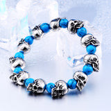 "316L Stainless Steel ""Blue Skulls"" Adjustable Bracelet - Blown Biker - 4"