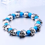 "316L Stainless Steel ""Blue Skulls"" Adjustable Bracelet - Blown Biker - 3"