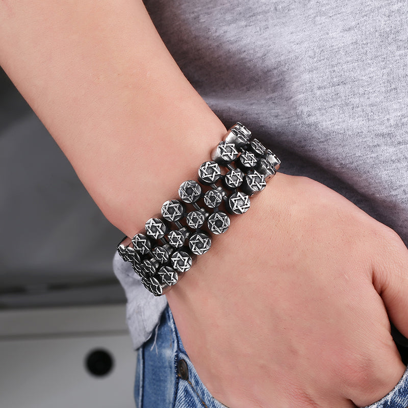 "316L Stainless Steel ""Full Star"" Bracelet - Blown Biker - 2"