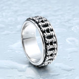 "316L Stainless Steel ""Motorcycle Chain"" Ring - Blown Biker - 2"