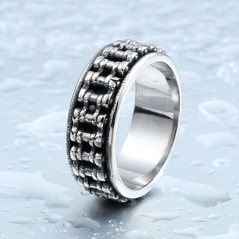 "316L Stainless Steel ""Motorcycle Chain"" Ring - Blown Biker - 1"