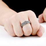 "316L Stainless Steel ""Motorcycle Chain"" Ring - Blown Biker - 4"