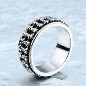"316L Stainless Steel ""Motorcycle Chain"" Ring - Blown Biker - 3"