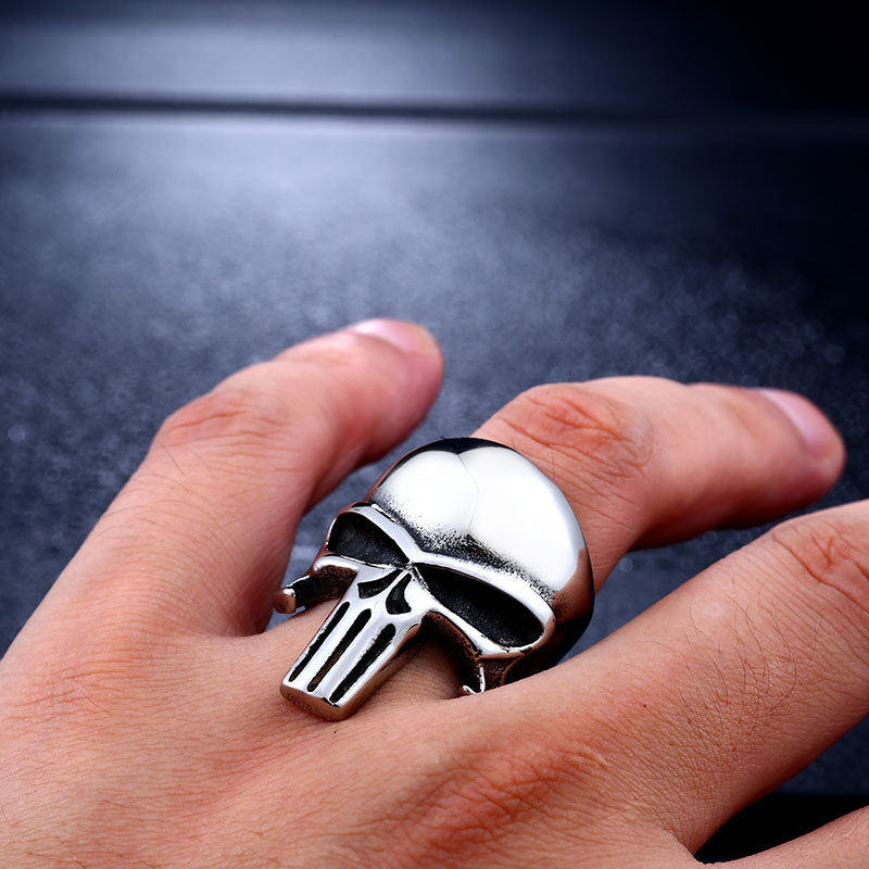 "316L Stainless Steel ""The Punisher"" Ring - Blown Biker - 1"