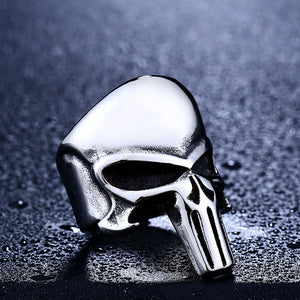 "316L Stainless Steel ""The Punisher"" Ring - Blown Biker - 6"