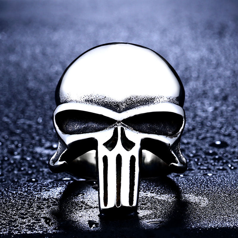 "316L Stainless Steel ""The Punisher"" Ring - Blown Biker - 4"
