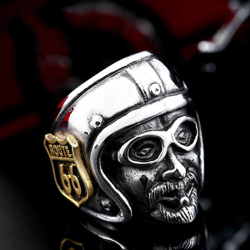 "316L Stainless Steel ""Route 66 Biker"" Ring - Blown Biker - 1"