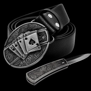 Leather Self Defence Belt with Hidden Knife - Blown Biker - 5
