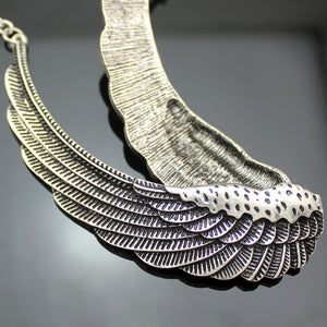 "Angel Wings ""Feather Choker"" Necklace - Blown Biker - 5"