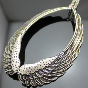 "Angel Wings ""Feather Choker"" Necklace - Blown Biker - 6"