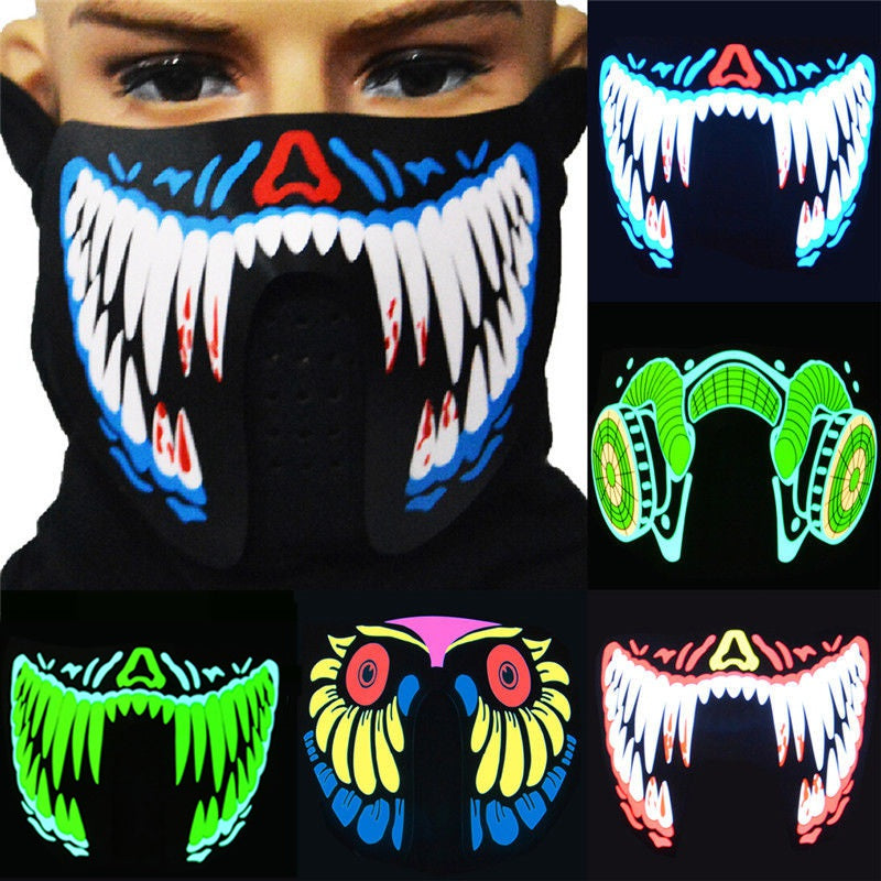 Glow In The Dark Flashing Motorcycle Face Mask - Blown Biker - 1