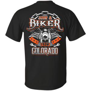 """Just A Biker From Colorado"" T-Shirt (BACK Print)"